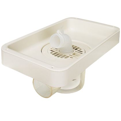 テクノテック ビルトイン洗濯機用 小型防水パン プッチエンデバーBタイプ(本体+台) アイボリーホワイト W340×D200×H43mm TS-340B 1 台
