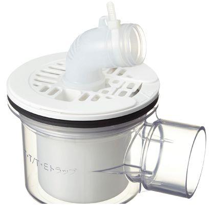 テクノテック かさ上げ防水パン用排水トラップ T.Eトラップ 横型 本体:透明目皿/目皿受:ニューホワイト  PNT-SWM 1 台