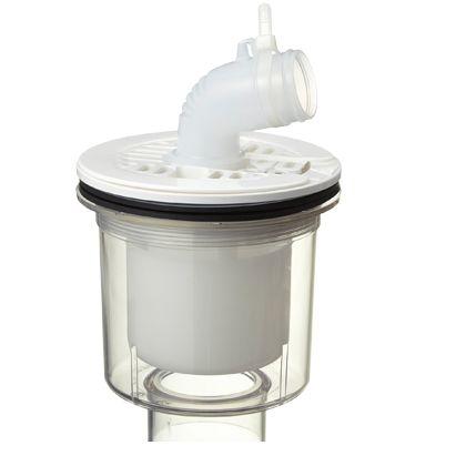 テクノテック かさ上げ防水パン用排水トラップ T.Eトラップ 縦型 本体:透明目皿/目皿受:ニューホワイト  PDT-SWM 1 台
