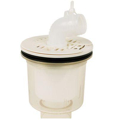 テクノテック かさ上げ防水パン用排水トラップ T.Eトラップ 縦型 本体:透明目皿/目皿受:アイボリーホワイト  PDT-SWM 1 台
