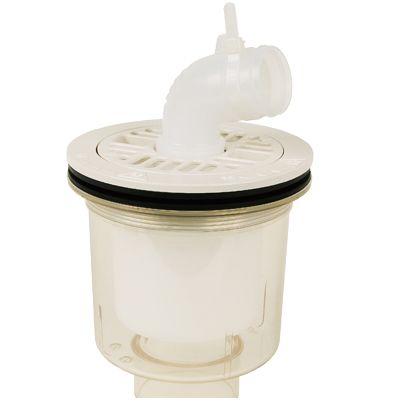 スタンダード防水パン用排水トラップ T.Tトラップ 縦型 本体:透明 目皿/目皿受:アイボリーホワイト  PDT-SW 1 台
