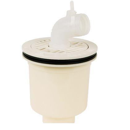 テクノテック スタンダード防水パン用排水トラップ T.Tトラップ 縦型 本体:アイボリーホワイト目皿/目皿受:アイボリーホワイト  PDT-W 1 台