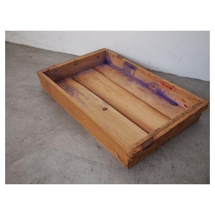 アンティークな木箱(絵の具保管用)  約縦310mm×横490mm×高さ70mm