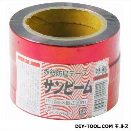 ノーブランド 防鳥テープ 赤銀  12mm幅×90m