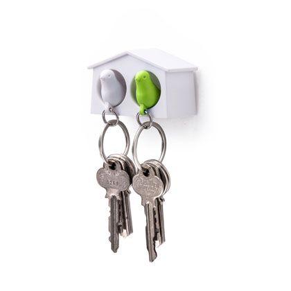 ミニデュオスパローキーリング ホワイト×グリーン