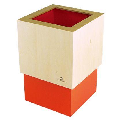 ヤマト工芸 ゴミ箱 W CUBE オレンジ 約幅15.0×奥行15.0×高さ22.5(cm) 212715