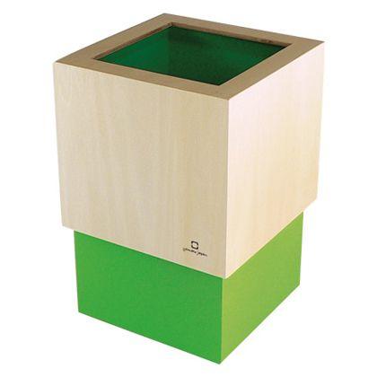 ヤマト工芸 ゴミ箱 W CUBE ライトグリーン 約幅15.0×奥行15.0×高さ22.5(cm) 212717