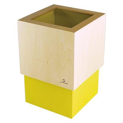 ヤマト工芸 ゴミ箱 W CUBE イエロー 約幅15.0×奥行15.0×高さ22.5(cm) 212721