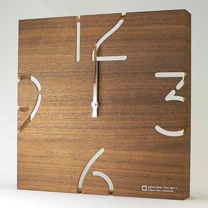 掛け時計 PUZZLE 電波時計 ウォールナット 幅34.5×奥行5.5×高さ34.5(cm) YK10-102
