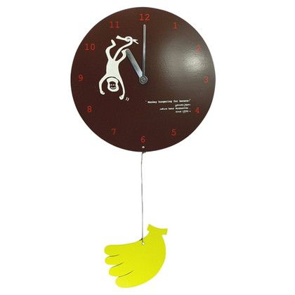 掛け時計 MOBILE CLOCK バナナを食べたいサル ブラウン 直径22×厚み3(cm) YK09-101