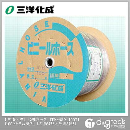 透明ホース(ドラム巻)  6mm×8mm×100Mドラム巻 TM-68D 100T