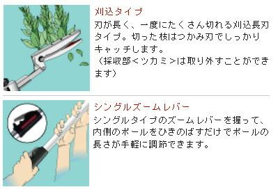 アルス 伸縮式高枝鋏ズームチョキ チルトアール刈込タイプ ロング3.1 (190ZTR-3.1-5D)
