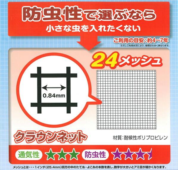 ダイオ化成 クラウンネット (網戸用防虫ネット) グレー 6m