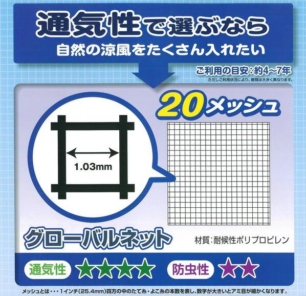 ダイオ化成 グローバルネット (網戸用防虫ネット) グレー 2m