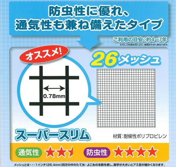 ダイオ化成 スーパースリム (網戸用防虫ネット) グレー 2m