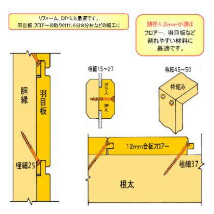ダンドリビス 極細ビス 頭大 24号 2.6mm×45mm (448-D-93) 270本