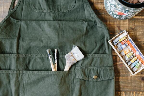 DIY FACTORY IDY 胸ポケットエプロン カーキ フリー (IDY-03K)