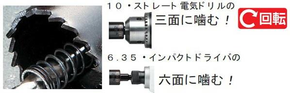 バイメタルホールソーJ型 コンビ軸 回転用