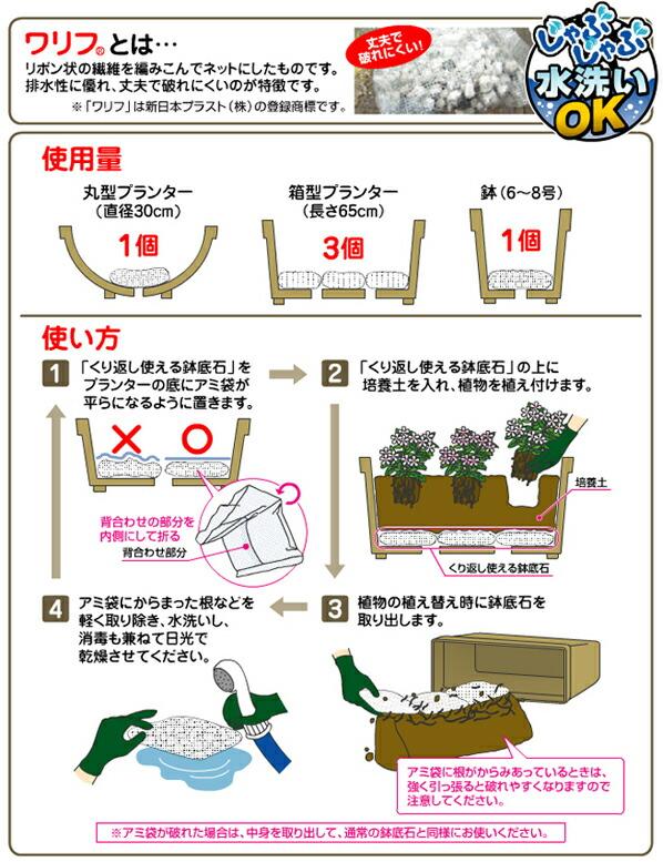 花ごころ くり返し使える鉢底石 網袋4
