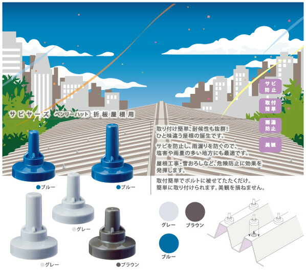 ヒロセ産業 サビヤーズ(折板屋根用)ボルトキャップ グレー 10mm(3/8)用 インチ専用 (49581) 150個
