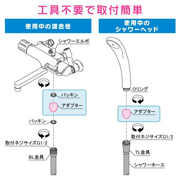 これカモ シャワーホース メタル調 取替用