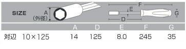 アネックス ボックスドライバー 10x125 (No.6000)