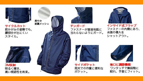 マック レインウェア レイントラックジャケット ネイビー M  (AS-900)