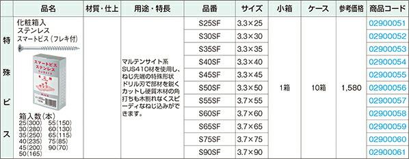 SUS410 ステンレススマートビス化粧箱入(フレキ付)
