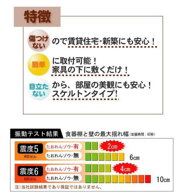 ミツギロン 家具転倒防止 防災グッズ たおれんゾウ クリア 60cm (ST-09)