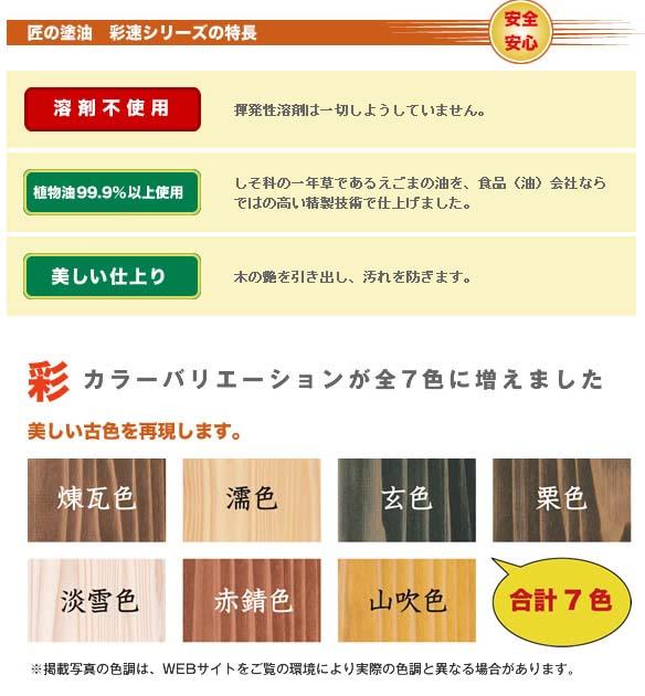 匠の塗油 彩速シリーズ/木部用保護・着色自然塗料