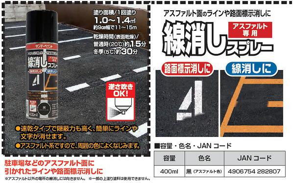 サンデーペイント 路面線消しスプレー〈一液型瀝青質系塗料〉 黒(アスファルト黒) 400ML (2001ET)