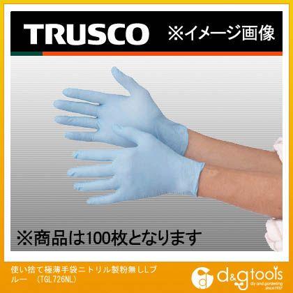 トラスコ 使い捨て極薄手袋ニトリル製粉無しLブルー (TGL726NL) 100枚 使い捨て手袋 手袋