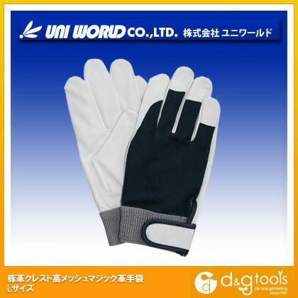 豚革クレスト甲メッシュマジック革手袋 L (360-L)