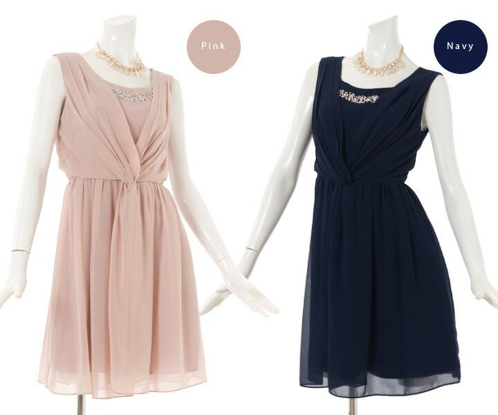 レースシフォン&裾ふんわりドレス