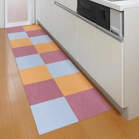 サンコー おくだけ吸着 床暖房対応 撥水タイルマット 30×30cm 8枚入
