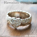 Hawaii ♪ souvenir Hawaiian jewelry * ring * silver ring (Hawaiian jewelry Silver Ring) ハートプルメリアスクロール-silver /ring-8 Hawaii * souvenirs /hawaii miyage / Hawaiian jewelry
