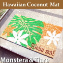 "Coconut mat ""monstera ティアレ"" W670mm X H400mm X D15mm"