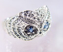 """Innocent blue eyes..."" K18WG Sapphire OWL ring (RG0046)"
