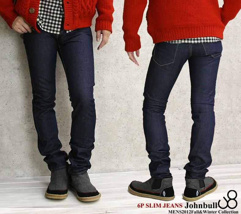 6 JOHNBULL( John Bull) one wash processing pocket slim jeans (11,676-11)