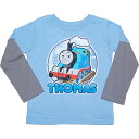 Long sleeves shirt wearing clothes one over another-like as for locomotive Thomas for Thomas the Tank Engine boys, light blue Ron T, tops, baby gift, present, Thomas the Tank Engine