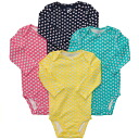 Carters Carter's for girls beauties colorful long-sleeved Bodysuit set 4 pieces, baby gifts, yellow floral print rompers, Navy blue butterfly coverall, cotton underwear, bird underwear, ピンクゾウ, elephant body suit