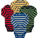 Four pieces of naughty horizontal stripe long sleeves body suit sets for Carter's (Carter's) boys, baby gift, rompers, red cover oar sale, cotton underwear, dark blue, blue, yellow, green, gray underwear, body suit