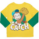 Yellow I'M A CATCH! baseball size enthusiast George Green sleeve wearing clothes one over another wind long sleeves T-shirt for the George boys of the monkey, baby gift, character yellow x green Ron T,