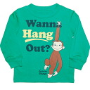 George Wanna hang Out? long sleeves T-shirt of the George man and woman combined use monkey of the monkey, character green Ron T, monkey, monkey