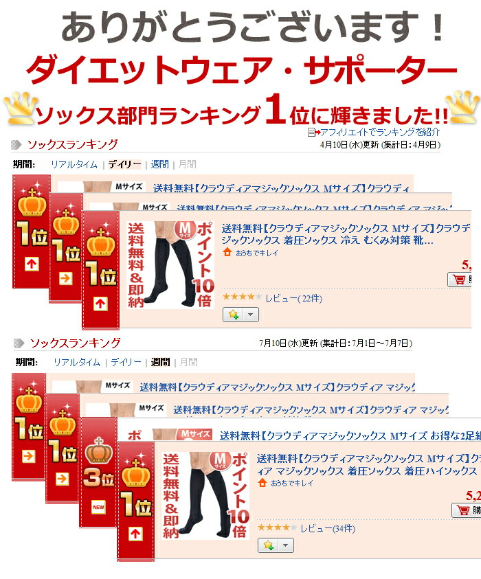 Thank you! The diet wear supporter socks section ranking first place