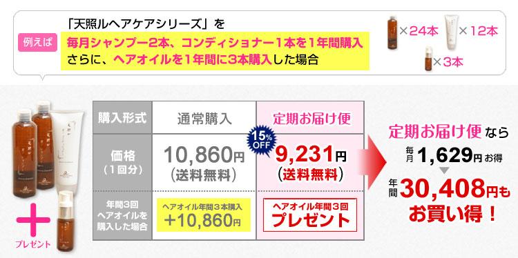天照ルヘアケアシリーズ年間30,408円もお買い得