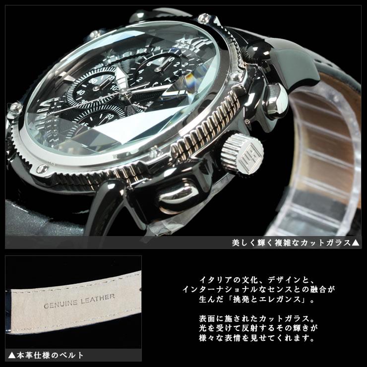 サルバトーレマーラメンズクロノグラフ腕時計カットガラス