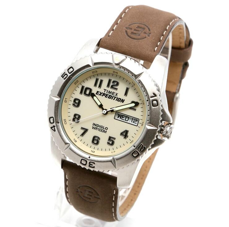 TIMEX タイメックス 腕時計 T46681 EXPEDITION / エクスペディション ミリタリーウォッチ メンズ レディース 時計 アナログ ミリタリー カジュアル ホワイト シルバー レザーベルト インディグロナイトライト搭載