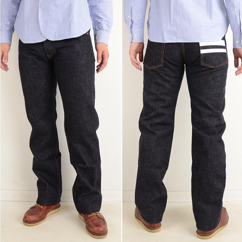 制造细长特浓靛蓝15.7盎司粗斜纹布上阵合身笔直牛仔裤的画像6