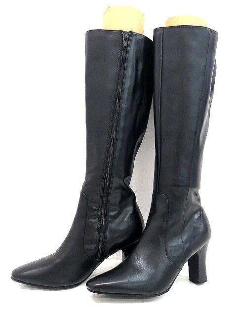 ヌオーヴォ NUOVO ロングブーツ M 黒 ブラック 靴 無地 シンプル 靴 くつ レディース 【ベクトル 古着】【中古】 160425